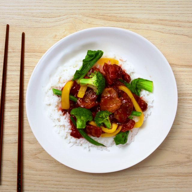 Char siu pork belly stir fry with rice and Asian greens