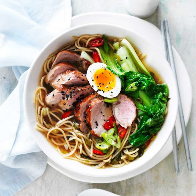 Chinese roasted pork noodle soup