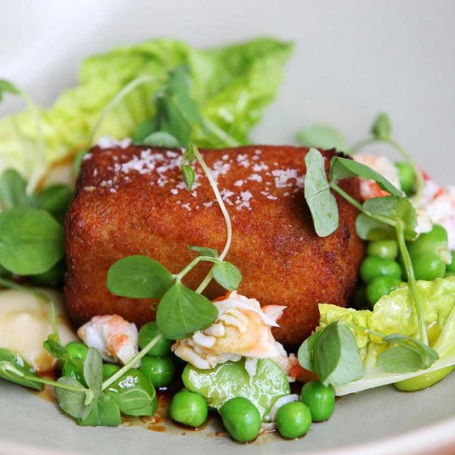 Crumbed Pig S Tail With Crab And Spring Greens Porkstar